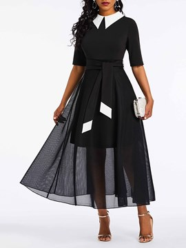 Ericdress See-Through Lapel Half Sleeve Regular Color Block Dress
