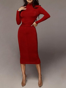 Ericdress Mid-Calf Stand Collar Long Sleeve Winter Bodycon Dress