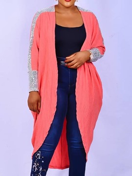 Ericdress Plus Size Patchwork Casual Long Trench Coat