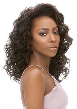 Ericdress Women's Medium Hairstyles Kinky Curly Human Hair Wigs Culy Lace Front Wigs 18Inches