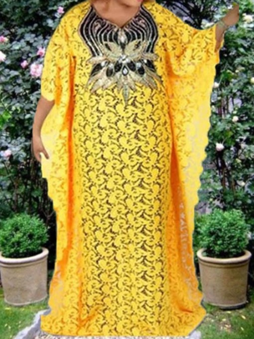 Ericdress Plus Size Sequins Three-Quarter Sleeve Floor-Length Batwing Sleeve Straight Dress