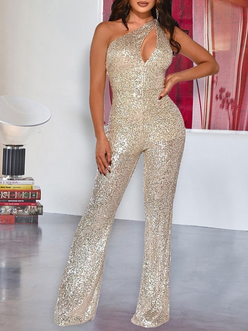 Ericdress Sequins Full Length Plain Slim One Shoulder Jumpsuit