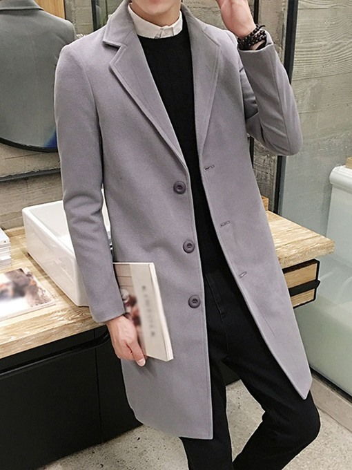 Ericdress Mid-Length Button Plain Slim Single-Breasted Men's Coat