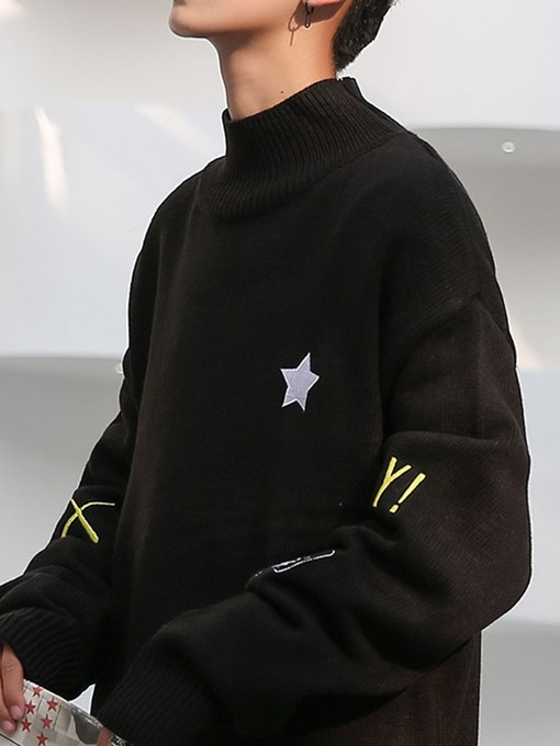 Ericdress Stand Collar Letter Mid-Length Winter Men's Casual Sweater
