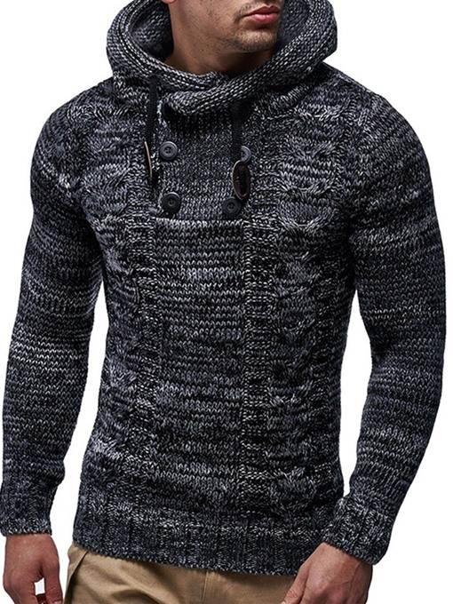 Ericdress Color Block Hooded European Slim Men's Sweater