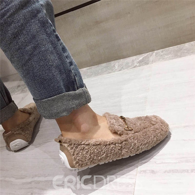 Ericdress Square Toe Slip-On Low Heel Casual Thin Shoes