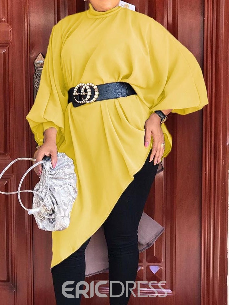 Ericdress Plus Size Plain Asymmetric Long Sleeve Long Blouse