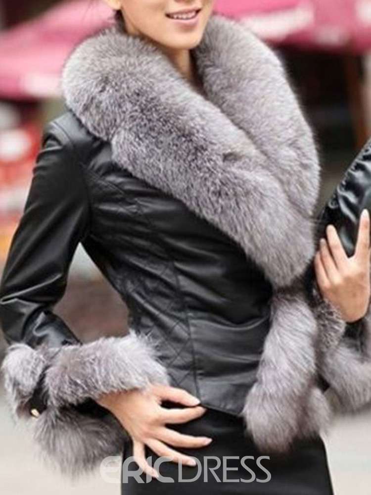 Ericdress Faux Fur Standard One Button Faux Leather PU Jacket