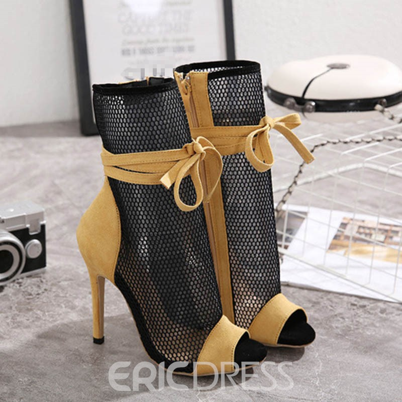Ericdress Peep Toe Stiletto Heel Side Zipper Sexy Boots