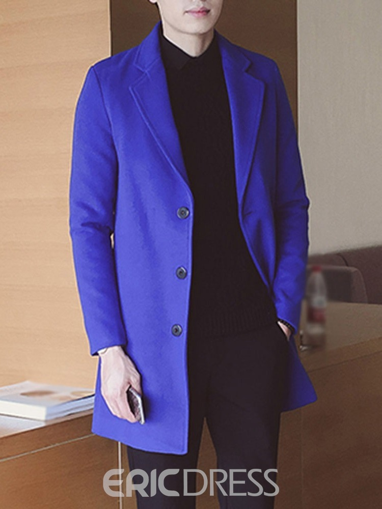Ericdress Lapel Button Mid-Length Winter Single-Breasted Men's Coat