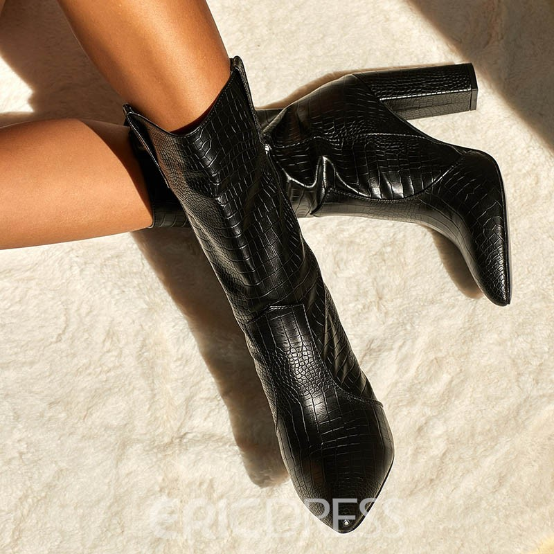 Ericdress Plain Chunky Heel Pointed Toe Western Casual Boots