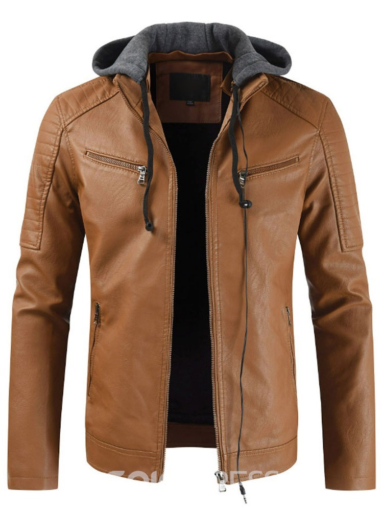 Ericdress Hooded Slim Patchwork Syle Men's Leather Jacket