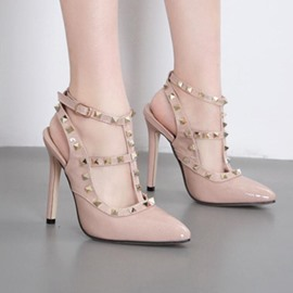 Ericdress T-Shaped Buckle Square Toe Plain Stiletto Heel Sandals