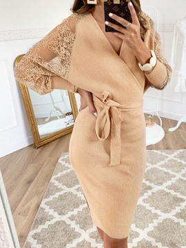 Ericdress Long Sleeve V-Neck Lace Batwing Sleeve Sweet Dress