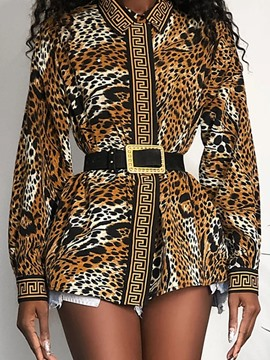 Ericdress Print Lapel Leopard Mid-Length Long Sleeve Blouse