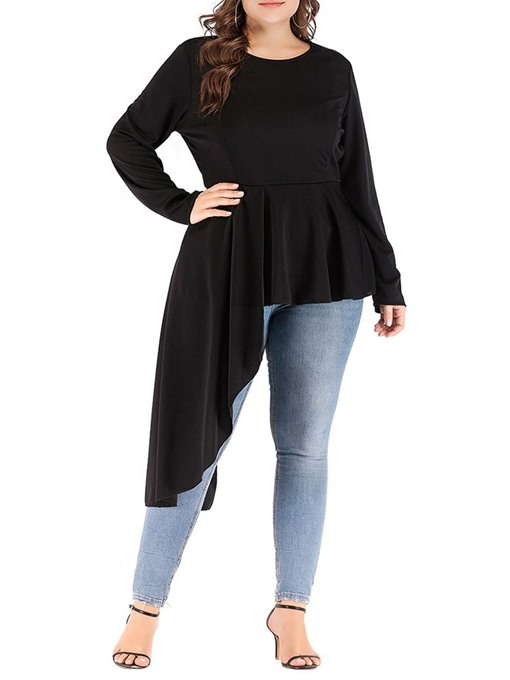 Ericdress Plus Size Plain Round Neck Long Sleeve Mid-Length Blouse