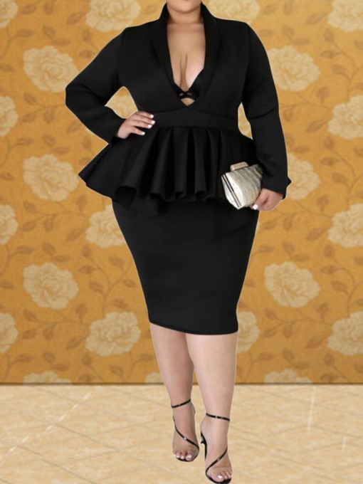 Ericdress Plus Size Mid-Calf Long Sleeve Bodycon Regular Dress