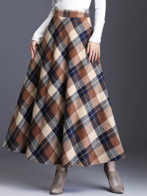 Ericdress Expansion Mid-Calf Plaid Casual Skirt