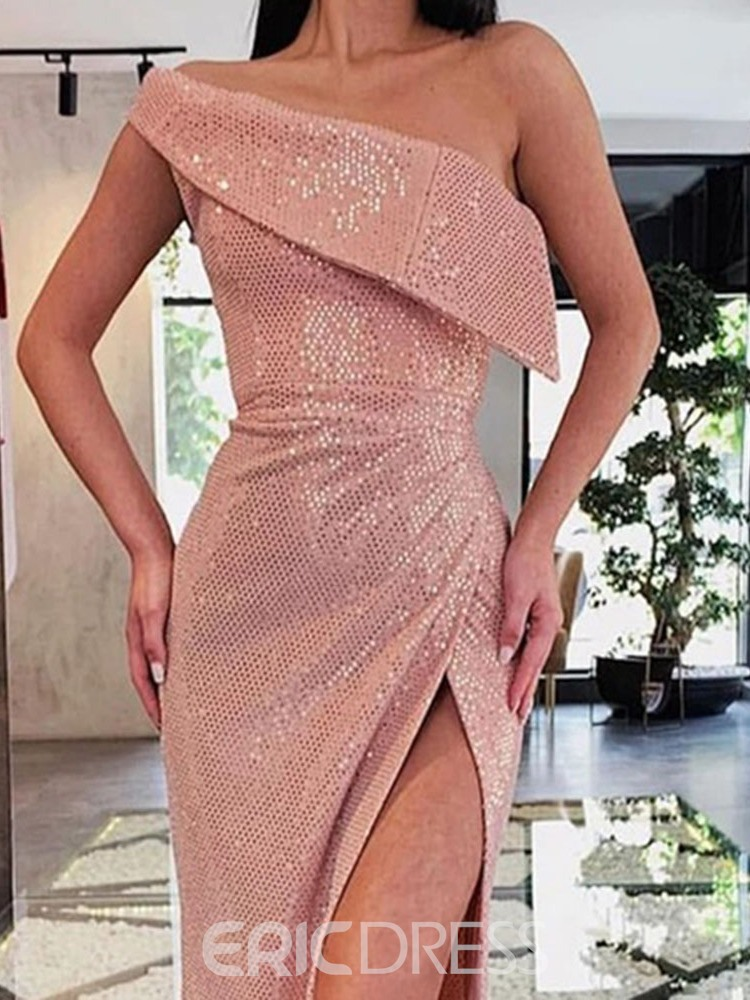 Ericdress Sleeveless Oblique Collar Sequins One-Shoulder Plain Dress