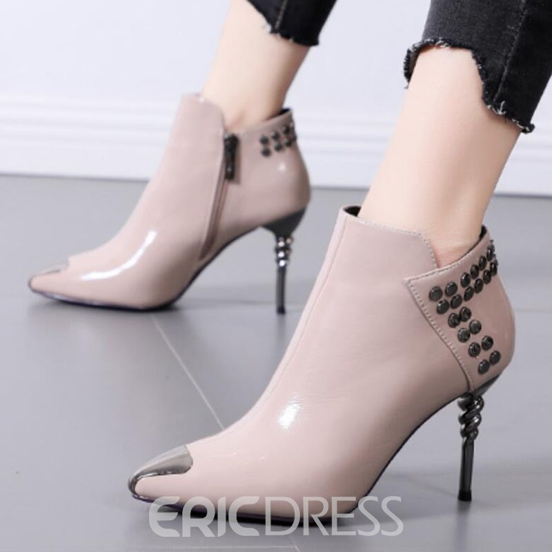 Ericdress Plain Side Zipper Pointed Toe Rivet Women's Boots
