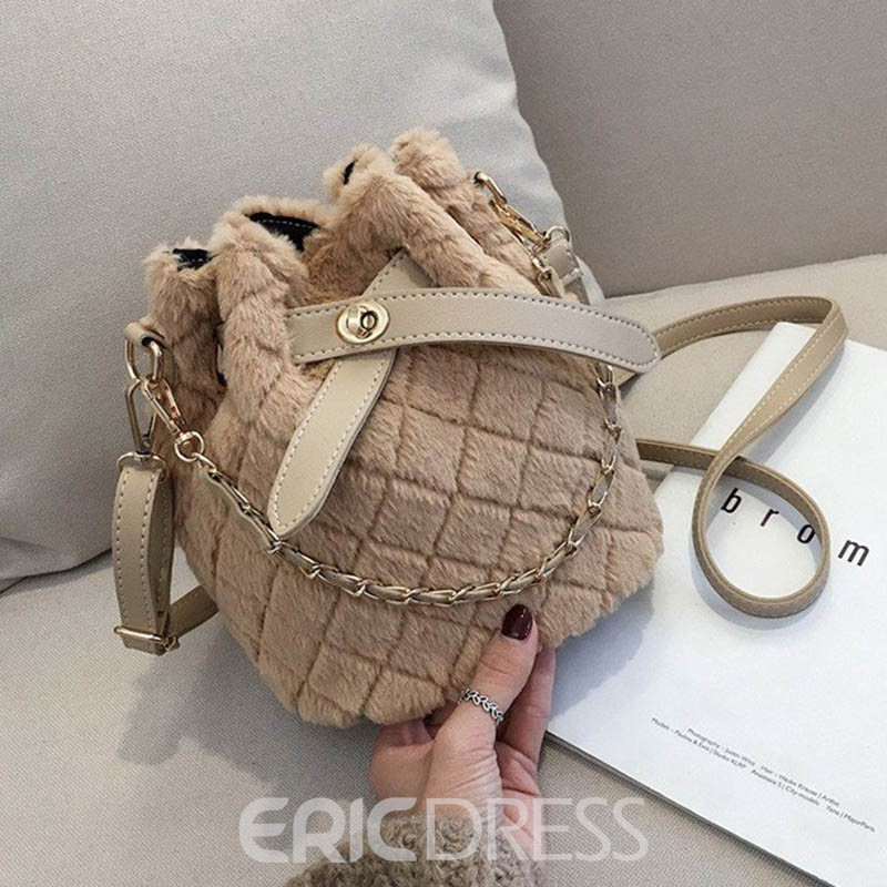 Ericdress Quilted Lining Plaid Barrel-Shaped Shoulder Bags