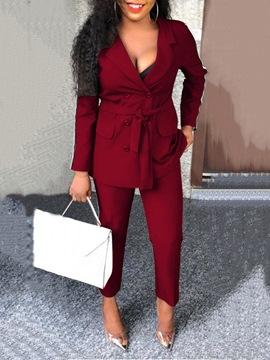 Ericdress Casual Lace-Up Office Lady Notched Lapel Double-Breasted Two Piece Sets