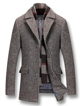 Ericdress Mid-Length Button Casual Men's Winter Coat