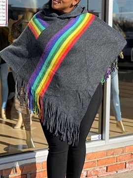 Ericdress Casual Rainbow Polyester Stripe Cape