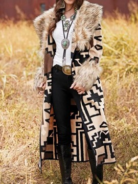 Ericdress Faux Fur Collar Fashion Long Patchwork Casual Trench Coat