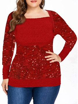 Ericdress Plus Size Christmas Regular Sequins Slim Sweater