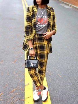 Ericdress Plaid Casual Ankle Length Two Piece Sets