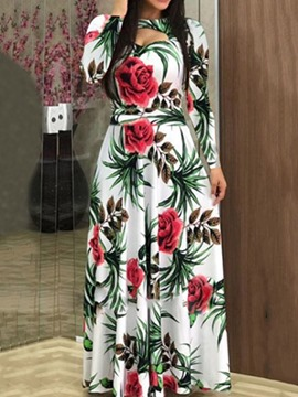 Ericdress Floor-Length Print Round Neck A-Line Floral Dress