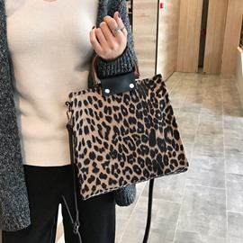 Ericdress Print Leopard PU Rectangle Tote Bags