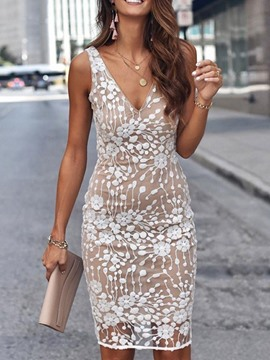 Ericdress Sequins V-Neck Knee-Length Floral Bodycon Dress