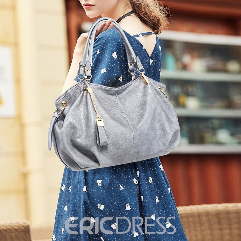 Ericdress PU Plain Thread Rectangle Tote Bags