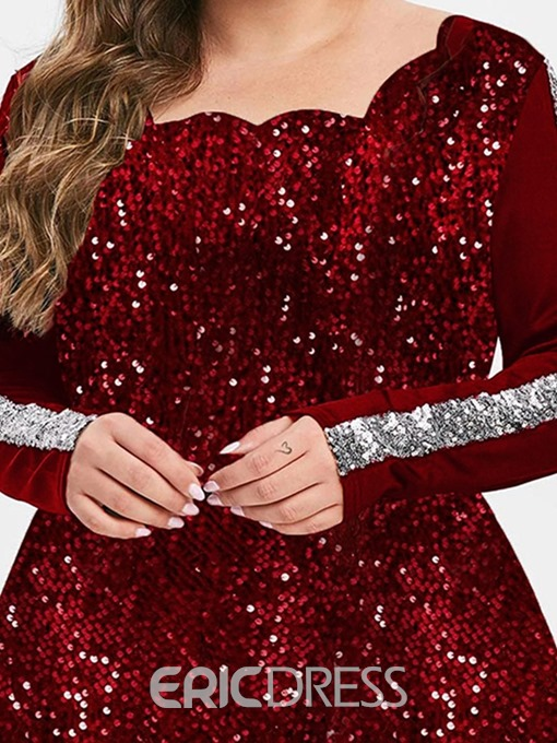 Ericdress Plus Size Sequins Long Sleeve Standard Party/Cocktail Slim T-Shirt