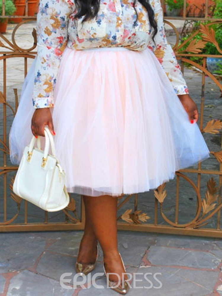 Ericdress Plus Size Mesh Ball Gown Mid-Calf Casual Skirt