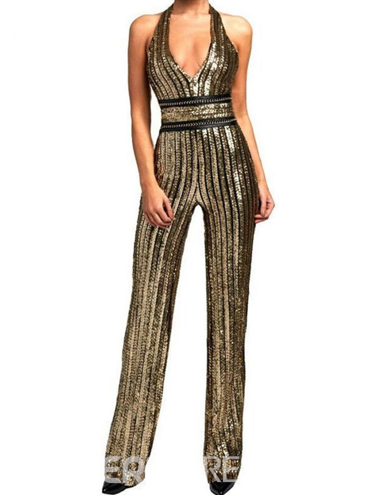 Ericdress Sexy Sequins Full Length Slim Straight Jumpsuit