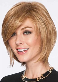 Ericdress Women's Short Softly Layered Hairstyles Straight Human Hair Wigs Side Part Bangs Lace Front Wigs 12Inch