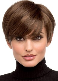Ericdress Pixie Cut Hairstyles Women's Side Part Short Length Human Hair Lace Front Wigs With Bangs 8Inch