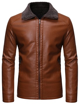 Ericdress Lapel Plain Casual Slim Style Men's Leather Jacket