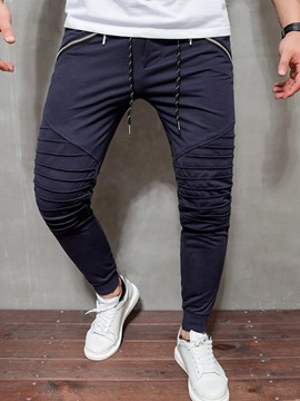 Ericdress Plain Color Zipper Lace-Up Men's Casual Pants