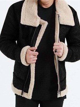 ericdress color block fleece patchwork winter european jacket