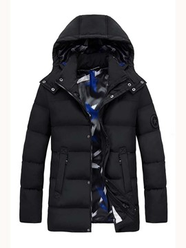 Ericdress Mid-Length Plain Hooded Casual Zipper Style Men's Down Jacket