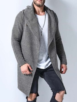 Ericdress Plain Color Mid-Length Hooded Casual Men's Coat