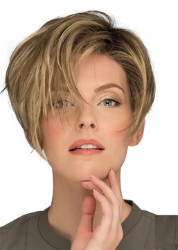 Ericdress Fashion Women's Pixie Cut Side Part Bnags Hairstyles Synthetic Hair Wigs Natural Straight Capless Wigs 10Inch