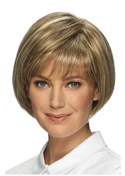Ericdress Short Bob Hairstyles Women's Straight Human Hair Wigs With Bangs Lace Front Cap Wigs 10Inch
