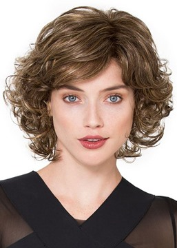 Ericdress Sexy Women's Side Part Short Bob Curly Hairstyles Human Hair Lace Front Cap Wigs 14Inch