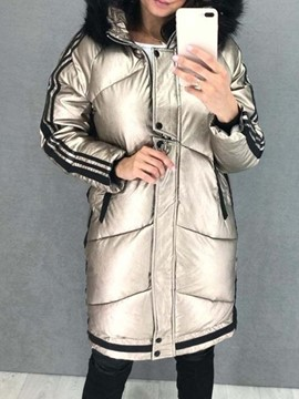 Ericdress Faux Fur Hooded Zipper Straight Mid-Length Cotton Padded Jacket