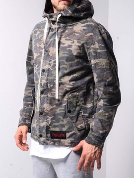 Ericdress Button Hooded Camouflage Zipper Style Men's Loose Jacket